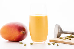 One Glass Of Mango Lassi And A Whole Fruit Stock Image