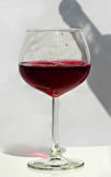 One Glass of Red Wine With Bottle Shadow Royalty Free Stock Image