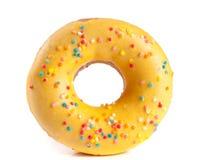 One glazed donut isolated on white background.  Royalty Free Stock Photo