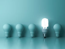 One glowing compact fluorescent lightbulb standing out from unlit incandescent bulbs reflection on green background Royalty Free Stock Photo
