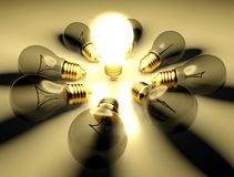 One Glowing Light Bulb Amongst Other Light Bulbs Royalty Free Stock Image