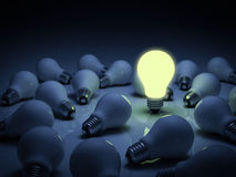 One glowing light bulb standing out from the unlit incandescent bulbs with reflection , leadership and different concept Stock Photos