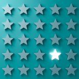 One glowing star standing among other dim stars on dark blue green pastel color background with shadows. Stand out from the crowd and different creative idea vector illustration