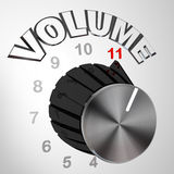 This One Goes to 11 - Volume Dial Knob. A volume dial or knob turned all the way to 11 surpassing and exceeding the normal maximum sound on a speaker or Stock Photos