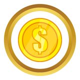 One gold coin vector icon Stock Image