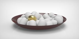 One gold egg and many white. Stock Photos