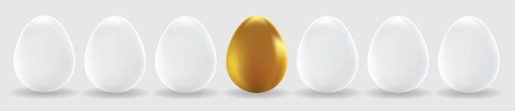 One gold egg and white eggs Stock Photography