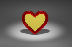 One gold heart. Computer generated 3d photo rendering Royalty Free Stock Image
