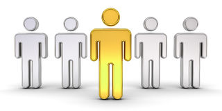 One gold man standing out from the crowd , Leadership and different creative idea concept Stock Photo