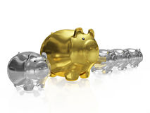 One Gold Piggy Bank in Row of Silver Piggy Banks. A 3D illustration of a big golden savings piggy bank placed within a row of small silver piggy banks. It can be Stock Photos