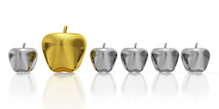 One Golden Apple in Row of Silver Apples Royalty Free Stock Image