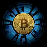 One Golden Bitcoin on abstract background. One Golden Bitcoin on abstract  background. Concept cryptocurrency in financial world. Banking business. illustration Royalty Free Stock Photography