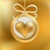One golden Christmas heart.  + EPS8 Royalty Free Stock Photos