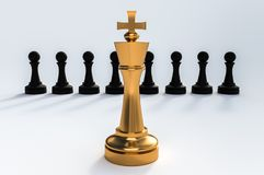 One golden King against all black pawns - chess leadership conce. Pt. 3D rendered illustration Stock Photography