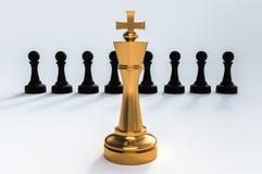 One golden King against all black pawns - chess leadership conce. Pt. 3D rendered illustration Stock Illustration