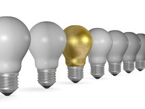 One golden light bulb in row of many grey ones Stock Photography