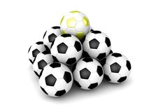 One golden soccer ball pyramid Stock Images
