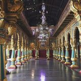 One of the grand halls in Mysore Palace. Royalty Free Stock Photo