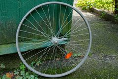 Gray iron rim of a bicycle wheel near a green wooden wall in the street. One gray iron rim of a bicycle wheel at a green wooden wall in the street royalty free stock images