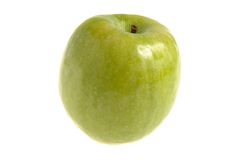 One green apple isolated. On white background Stock Photo