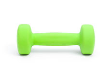 One green dumbbell Royalty Free Stock Photography