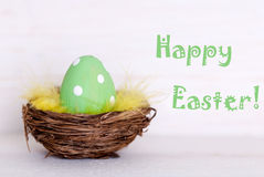 One Green Easter Egg In Nest With Happy Easter Stock Photo