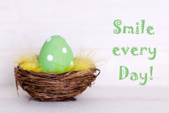 One Green Easter Egg In Nest With Life Quote Smile Every Day Royalty Free Stock Photography