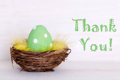 One Green Easter Egg In Nest With Thank You Royalty Free Stock Photo