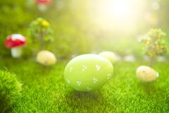 One Green Easter eggs on meadow in Dreamland or fairy world royalty free stock image
