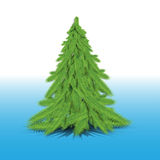 One green fir-tree. On a blue background Stock Images