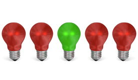 One green light bulb in row of red ones. Front view Royalty Free Stock Photo