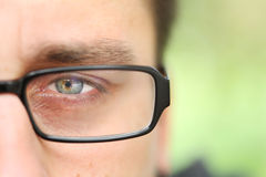 Only One Green Man Eye With Eyeglass Royalty Free Stock Photography