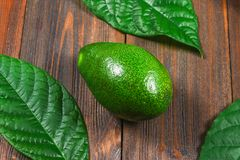 One green ripe raw avocado fruit with leaves lies on a wooden brown table. Top view. Royalty Free Stock Photos