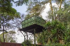 One green water storage tanks on stilts in the savannah of Ambos. Eli Park in Kenya Stock Photo