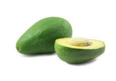 One and half avocado on white background Royalty Free Stock Photo