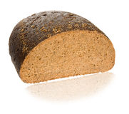 One Half of black bread. On white background Royalty Free Stock Image