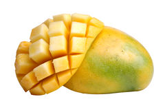 One and a half golden mangoes Stock Photo