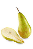 One and half green pears Royalty Free Stock Images