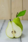 One and a half green pears Royalty Free Stock Photography