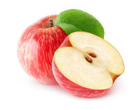 One and a half isolated red apples Stock Image