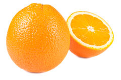 One and half oranges isolated Royalty Free Stock Photography