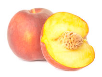 One an half peaches Stock Photos