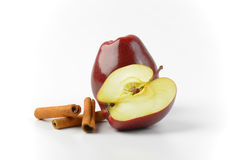 One and a half red apples Royalty Free Stock Image