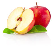 One and a half red apples isolated on white background Royalty Free Stock Photo