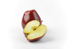 One and a half red apples Royalty Free Stock Images