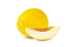 One and a half ripe melon  on white background Stock Photo