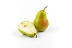 One and half ripe pears Stock Images