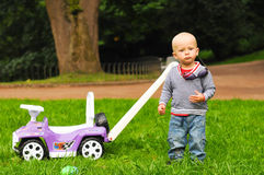 One and a half year boy in park Royalty Free Stock Photo