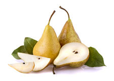 One and a half yellow pears over. White background stock images