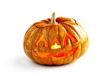 One halloween pumpkin on isolated white background Royalty Free Stock Photo